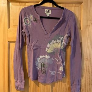 Vintage Lucky Brand Thermal Asian Inspired Top.